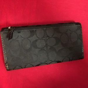 Coach Bags - COACH Black Signature Canvas Trifold 42818 Wallet